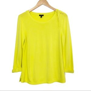 Talbots   Yellow Lace-up Shoulder Sweater